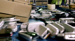 Electronic Recycling Plant - Cell Phones 1 Stock Footage