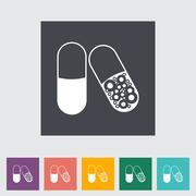 Pills flat icon. Stock Illustration