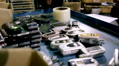 Electronic Recycling Plant - Cell Phones 2 Stock Footage