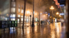 Time lapse of Market Street in San Francisco early in the morning in the rain. - stock footage
