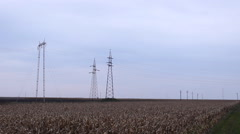 Electricity power station agriculture field Stock Footage