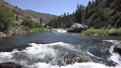 4k wide angle shot of the Truckee river looking upstream at rapids Stock Footage