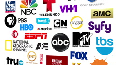 TV Networks Logos Loop Stock Footage