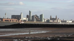 4k Liverpool seafront view from the Wirral, new Brighton with ferry - stock footage