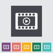 Video flat icon. Stock Illustration
