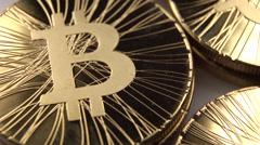 Bitcoins close up 25P Stock Footage