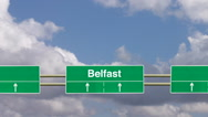 Stock Video Footage of Road sign to Belfast.