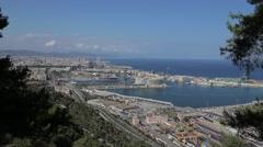 Cityscape of Barcelona Harbor Stock Footage