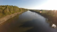 Wide angle view of a River Stock Footage