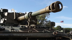 British tank assault gun with American Flag Stock Footage
