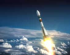 Carrier rocket take off Stock Illustration