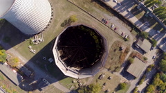Aerial footage. Flight over old to new water cooling tower vertical angle - stock footage