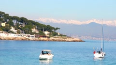 Boats in a beach in Antibes, Cote d'Azur, France Stock Footage