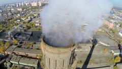 Aerial footage. Coal Power Plant smoke pipe Stock Footage