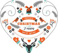Stock Illustration of Christmas design heart with birds and elements