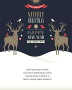 Christmas greeting card, concept with deers Stock Illustration