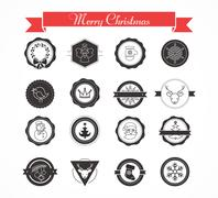 Set of labels, designs and elements for Christmas Stock Illustration