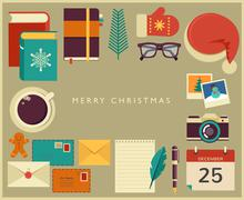 Christmas Santa's desktop flat vector design - stock illustration