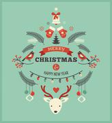 Christmas design with birds, elements and deer - stock illustration