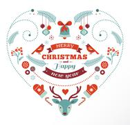 Christmas design heart with birds and deer - stock illustration