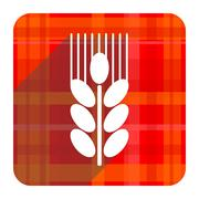 Stock Illustration of grain red flat icon isolated.