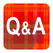 question answer red flat icon isolated. - stock illustration