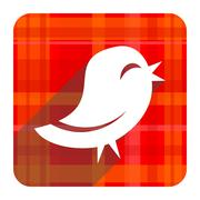 Twitter red flat icon isolated. Stock Illustration