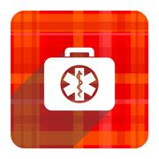 Rescue kit red flat icon isolated. Stock Illustration