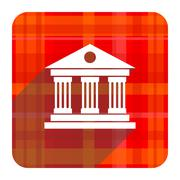 Stock Illustration of museum red flat icon isolated.