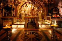 golgotha mountain, temple of the holy sepulcher in jerusalem - stock photo