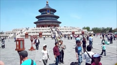 View of the famous Temple of Heaven in Beijing, China Stock Footage
