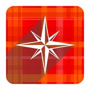 compass red flat icon isolated. - stock illustration