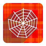 Spider web red flat icon isolated. Stock Illustration