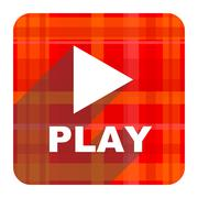 play red flat icon isolated. - stock illustration