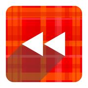 rewind red flat icon isolated. - stock illustration