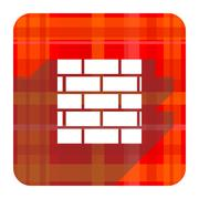 firewall red flat icon isolated. - stock illustration