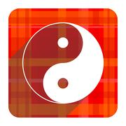 Ying yang red flat icon isolated. Stock Illustration