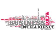 word cloud business intelligence - stock illustration