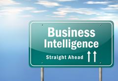 Highway signpost business intelligence Stock Illustration