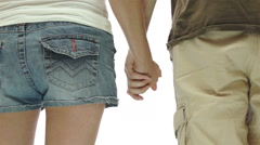 Couple Holding Hands Isolated Stock Footage