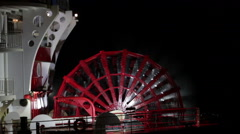 Paddleboat Powers Against The Mississippi River At Night Stock Footage