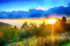 Blue ridge parkway late summer appalachian mountains sunset western nc scenic Stock Photos