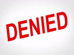 Denied Concept, words fall down on white background - stock footage
