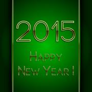 Vector rectangle green greeting new year 2015 postcard with golden letters - stock illustration