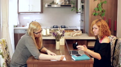 Women at home office Stock Footage