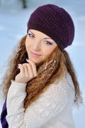 portrait beautiful brunette girl on a walk in winter - stock photo