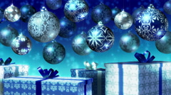 Christmas balls and gifts loop. Blue and silver. - stock footage