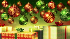 Christmas balls and gifts loop. Red, green and gold. Stock Footage