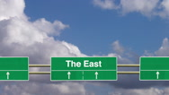 Stock Video Footage of Road sign to the East.
