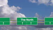 Stock Video Footage of Road sign to The North